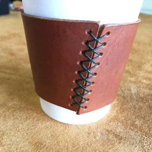 Leather Coffee Sleeve - Tan with Green Thread