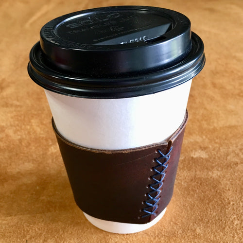 Leather Coffee Sleeve - Charlie's Brown with Blue Thread