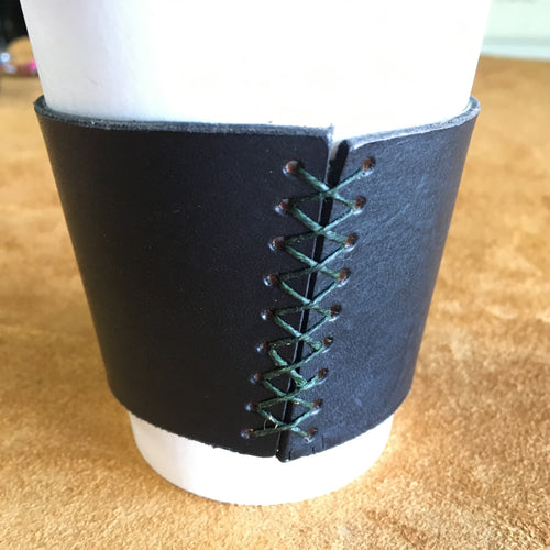 Leather Coffee Sleeve - Black with Green Thread