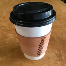 Leather Coffee Sleeve - Natural with Brown Thread
