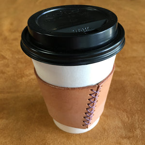 Leather Coffee Sleeve - Natural with Lavender Thread