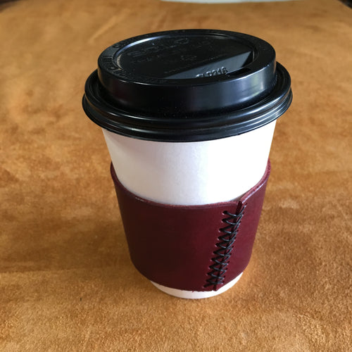 Leather Coffee Sleeve - Ox Blood with Black Thread