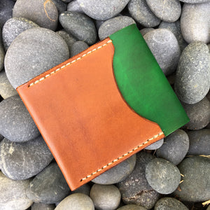 Ammonite Minimalist Bifold Wallet - Tan with Green