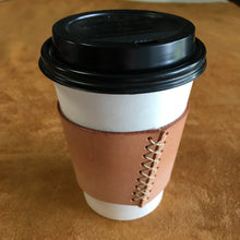 Leather Coffee Sleeve - Natural with Natural Thread