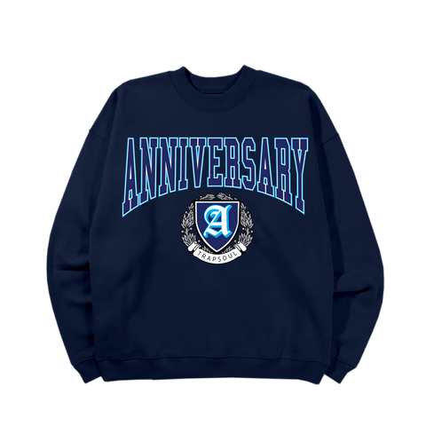 DELUXE ANNIVERSARY NAVY VARSITY CREWNECK PULLOVER