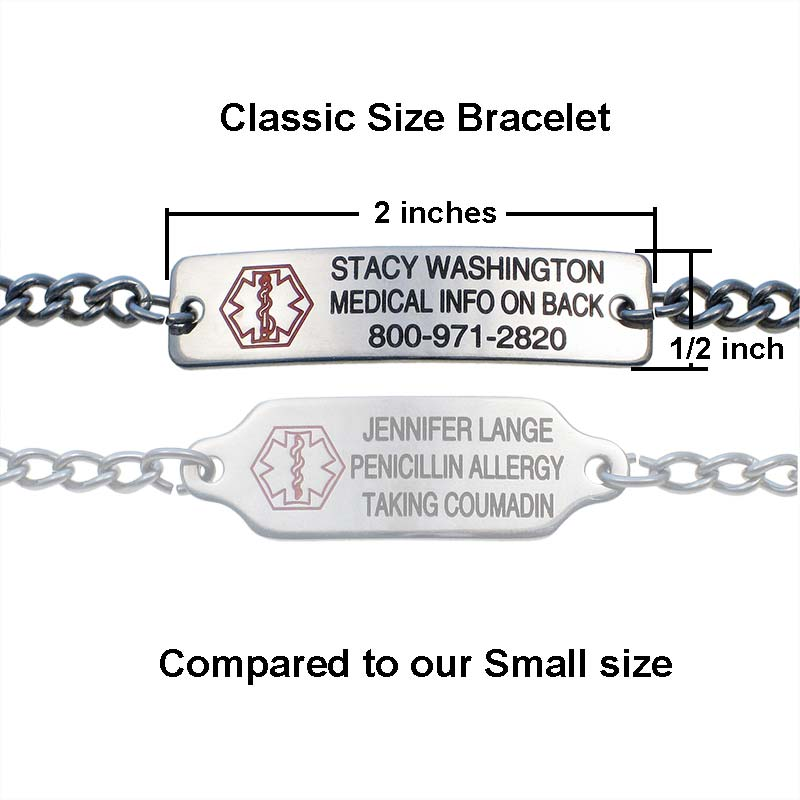 Classic Stainless Steel Medical ID Bracelet - Engraving on Front And Back
