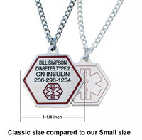 Classic Stainless Steel Medical ID Necklace - Engraving on Front And Back