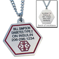 Stainless Steel Personalized Medical ID Necklace with Engraving on Front and Back