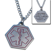 Smaller Size Stainless Steel Personalized Medical Necklace