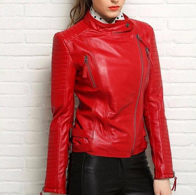Vintage Look Leather Biker Jacket