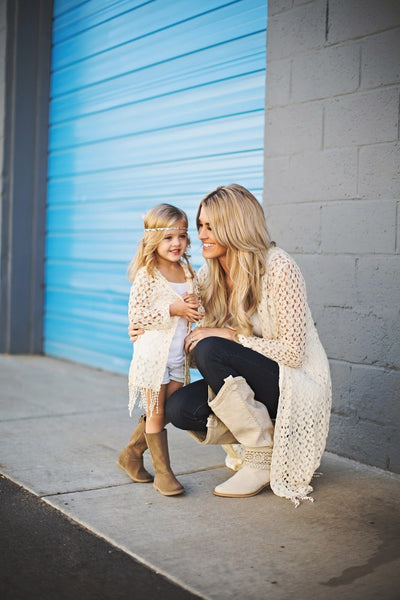 Mommy N Me Hooded Tassel Cardigan