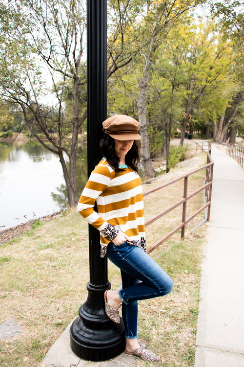 Ella Top in Mustard/Leopard