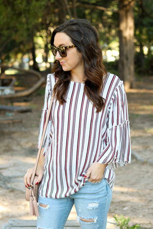 Bethany Top in Linen Stripe