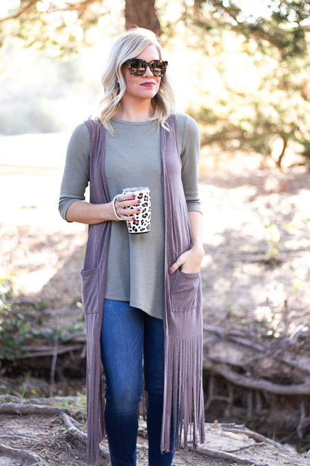 Everly Ruffle Cardigan in Mauve