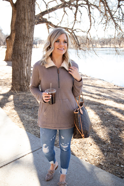 Jess Thermal Pullover in Mocha