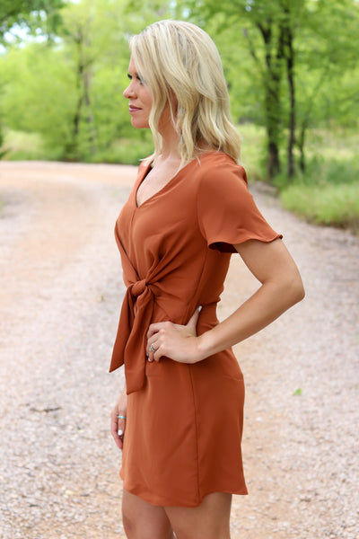 Bree Knot-Front Dress in Rust