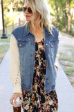 Eve Denim Jacket with Sweater Sleeves