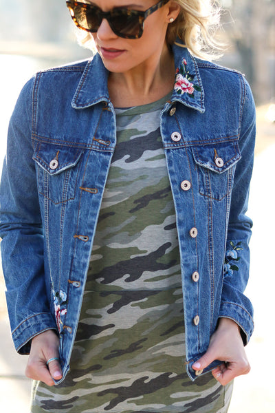 Dylan Denim Jacket with Floral Embroidery