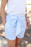Brynley Shorts in Blue/White Stripe