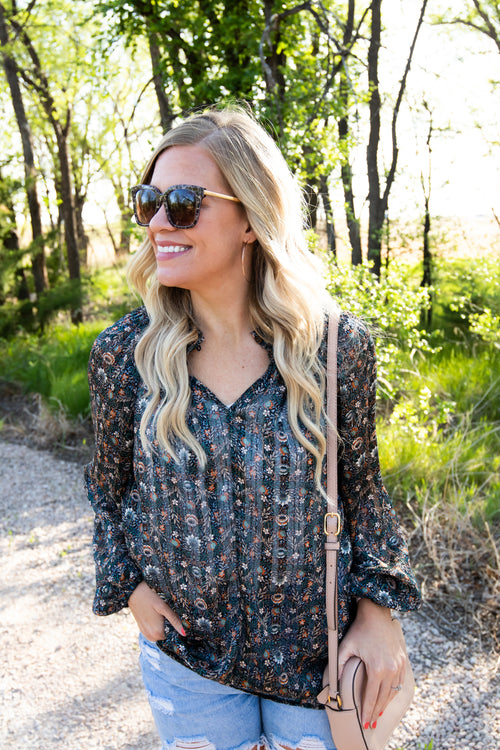 Grace Boho Blouse in Navy