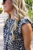 Gwen Ruffle Top in Leopard