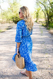 Jerrilyn Midi Dress in Blue