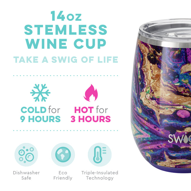 14oz SWIG Stemless Wine Cup in Purple Reign