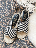 Roz Sandals in Black/White Stripe