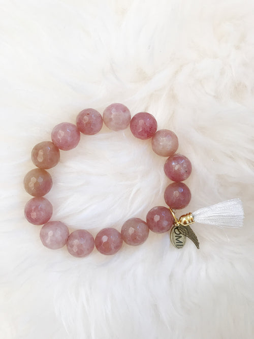 OMI Beads Strawberry Agate w/ Tassel
