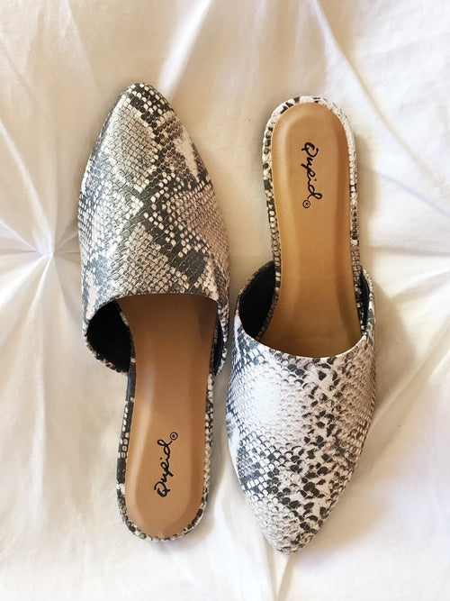 Heather Snake Print Mules