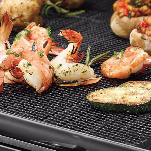 Grid Shaped BBQ Mat for Outdoor Cooking-Heat Resistant and Non-stick.