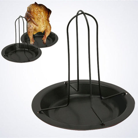 Upright Chicken Roaster Rack With Bowl Tin Non-stick