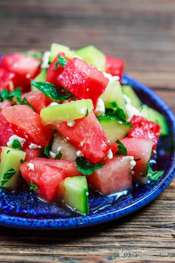 Watermelon and Cucumber Salad with a Honey Vinaigrette