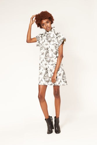 Hi Neck Box Dress - Tonal Floral