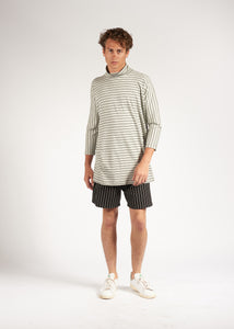 mock neck 3/4 sleeve striped tunic