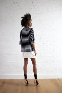 BLACK STRIPE BOX TOP