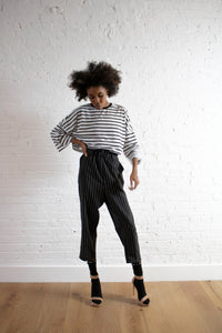 PINSTRIPE RUCHED PANT