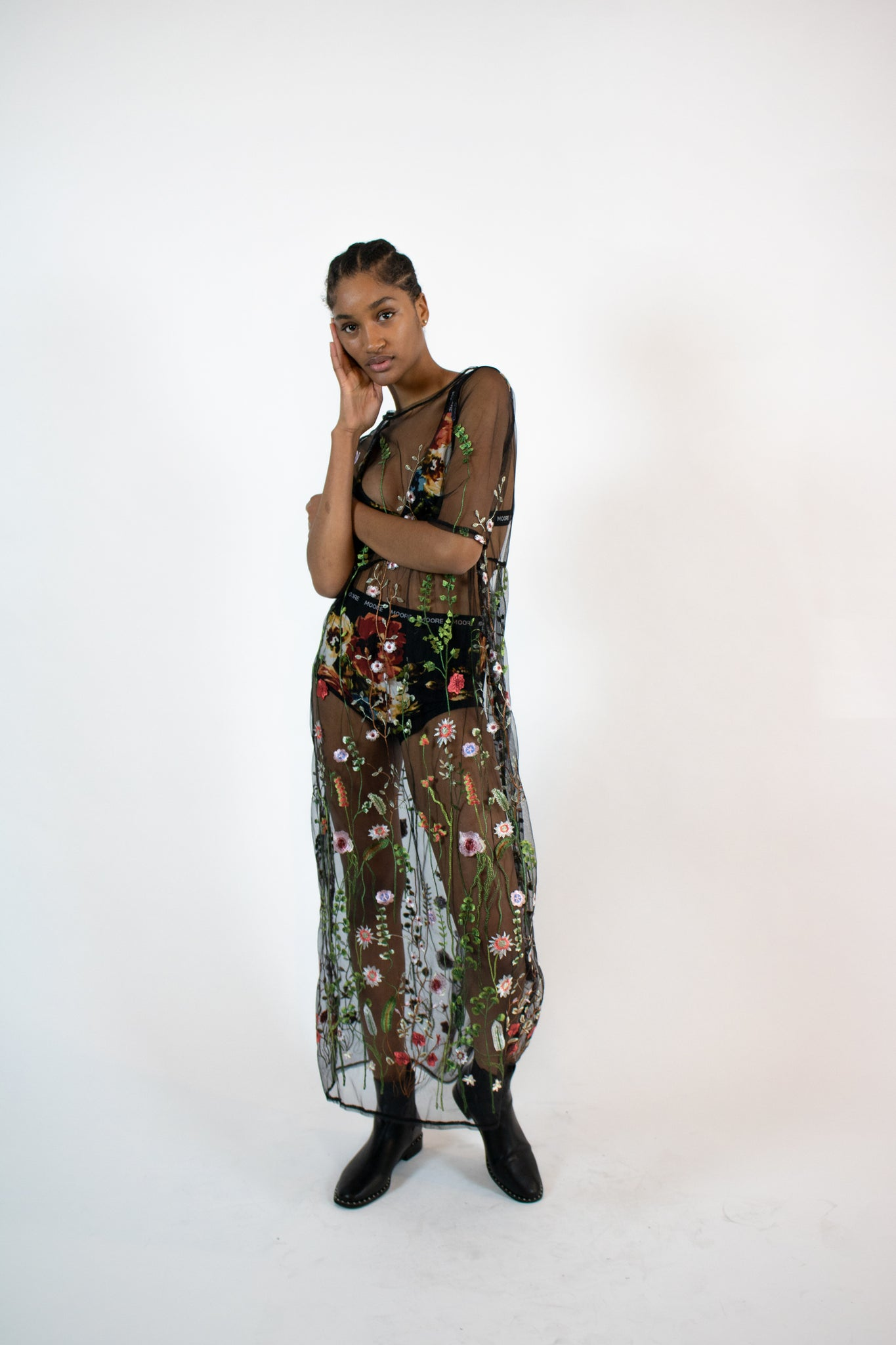 embroidered mesh maxi dress – MOORE 40f2994ad