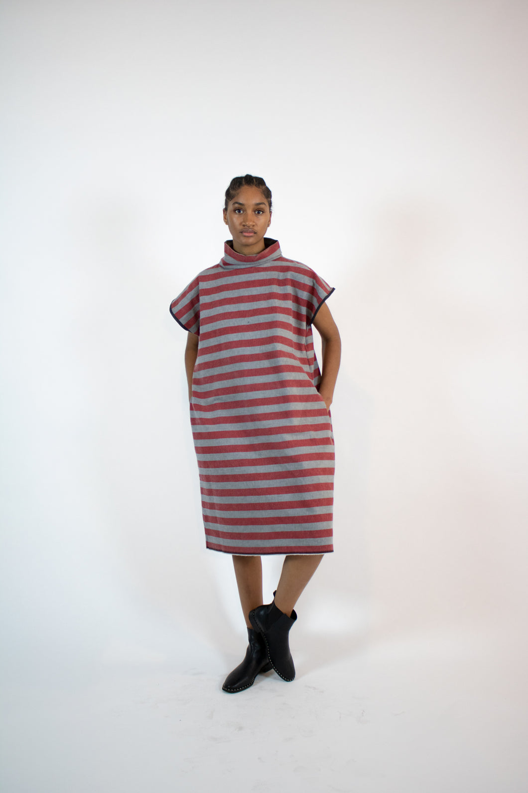striped denim box dress