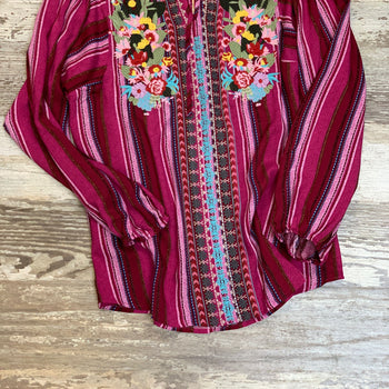 Magenta Striped & Embroidered Tunic