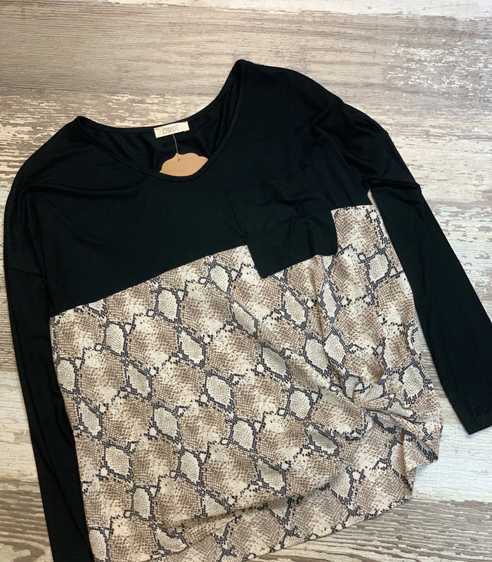 Black & Snake Knot Top