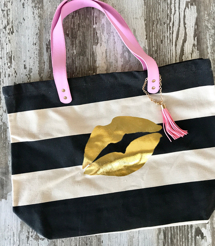 Gold Lips Tote