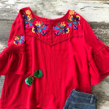 Plus Red Embroidered Top