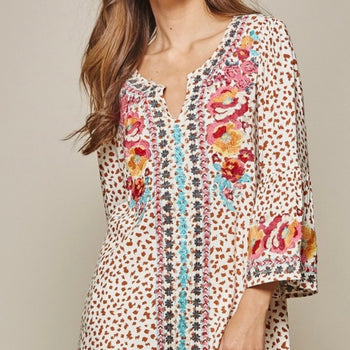 Leopard Embroidered Top