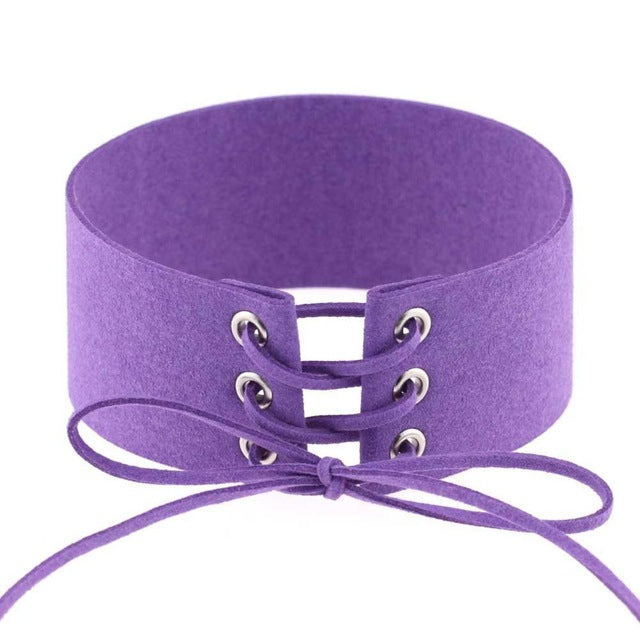 """Kim"" Lace Up Choker Necklace"