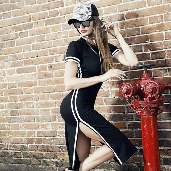 """Dope AF"" Striped Athletic Dress"