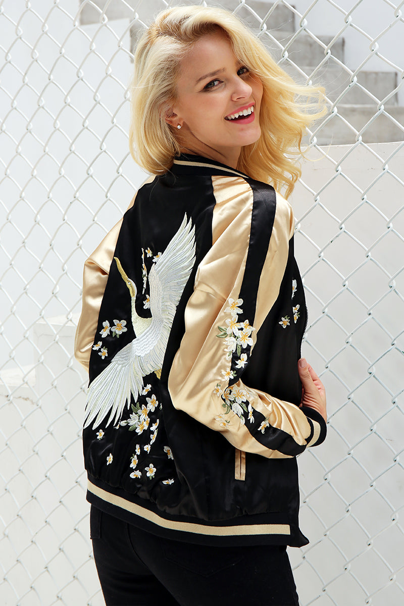 """Kamikaze"" Women's Embroidered Bomber Jacket"