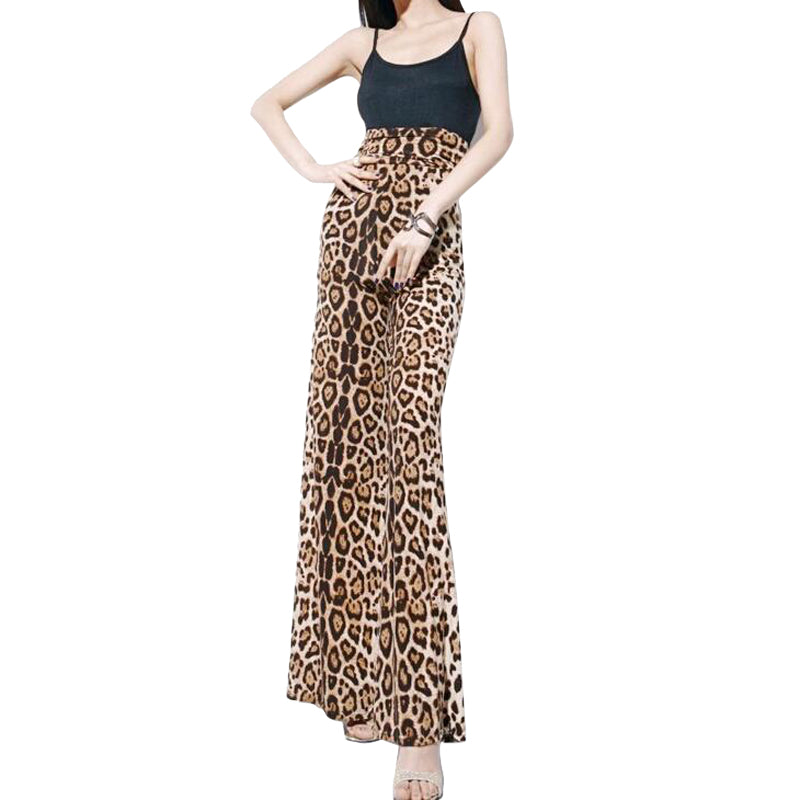 """Big Cat"" Leopard Print Flare Pants"
