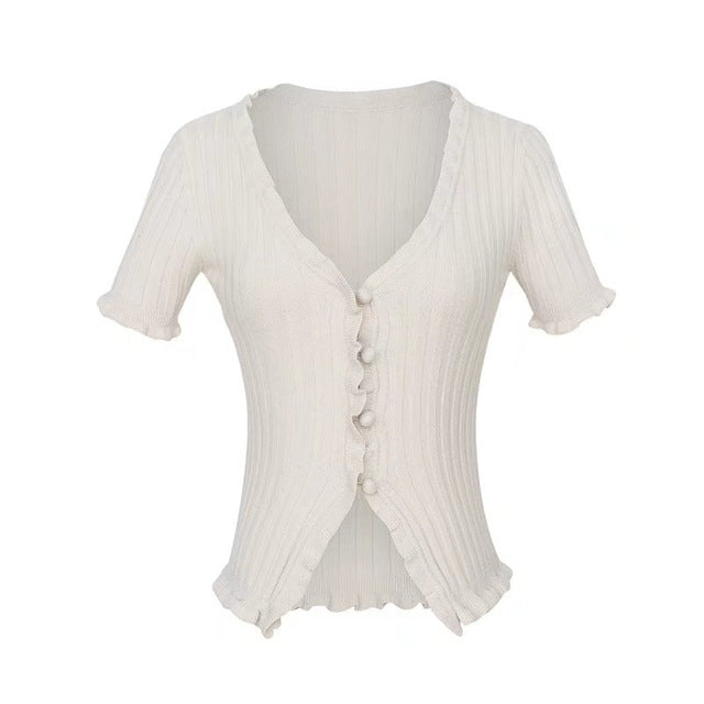 """Mazzy"" 90's Knitted Ruffle Top"