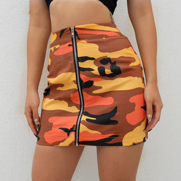 """See No Evil"" Multi Colored Camouflage Zipper Skirt"